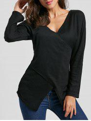 V Neck Cross Front Ribbed T-shirt -