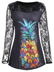 Plus Size Floral Lace Insert Pineapple Print Tee -