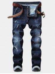 Bleached Effect Straight Leg Ripped Jeans -