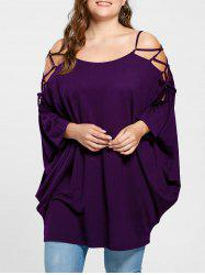 Plus Size Open Shoulder Lattice Cut Baggy Top -
