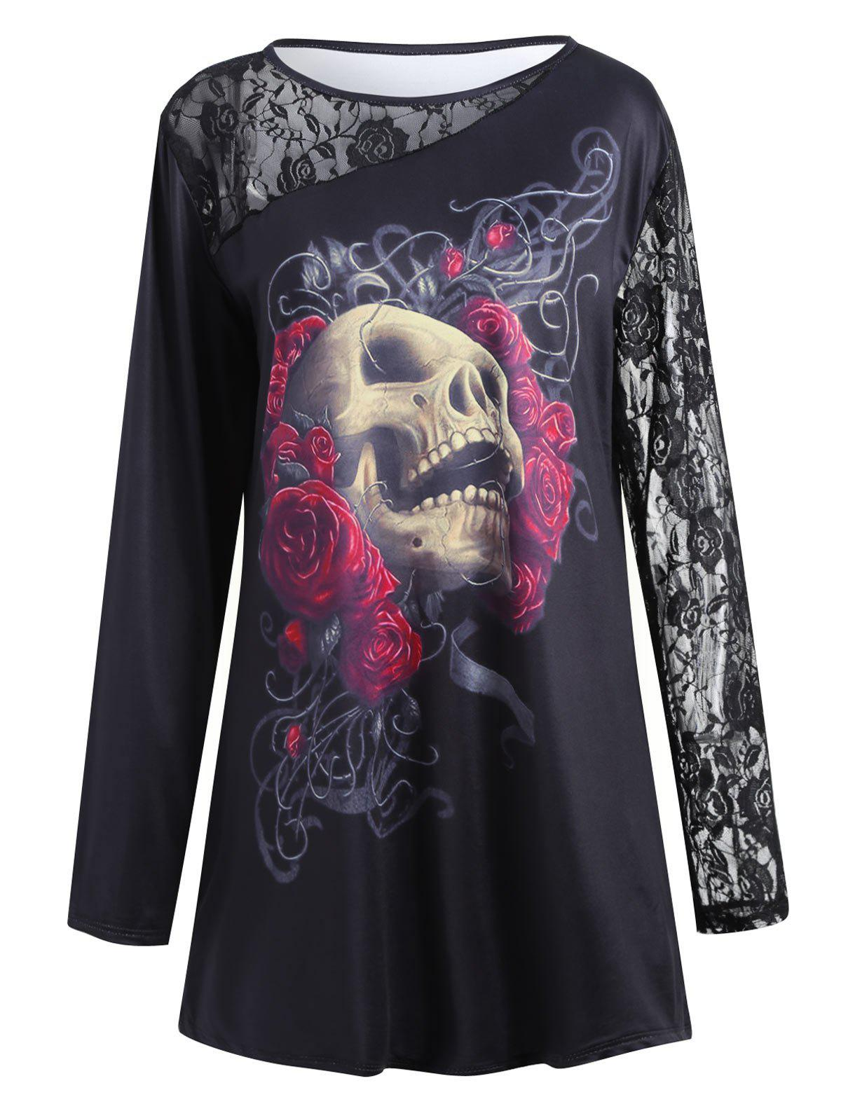 Outfit Halloween Lace Insert Plus Size Floral Skull Printed T-shirt