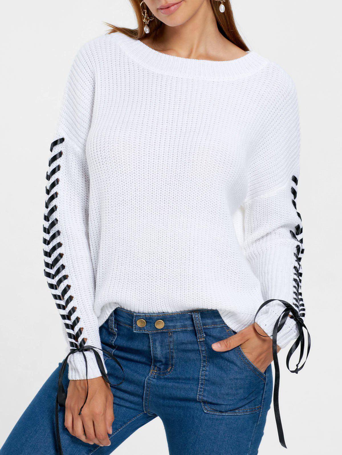 Online Drop Shoulder Lace Up Sweater