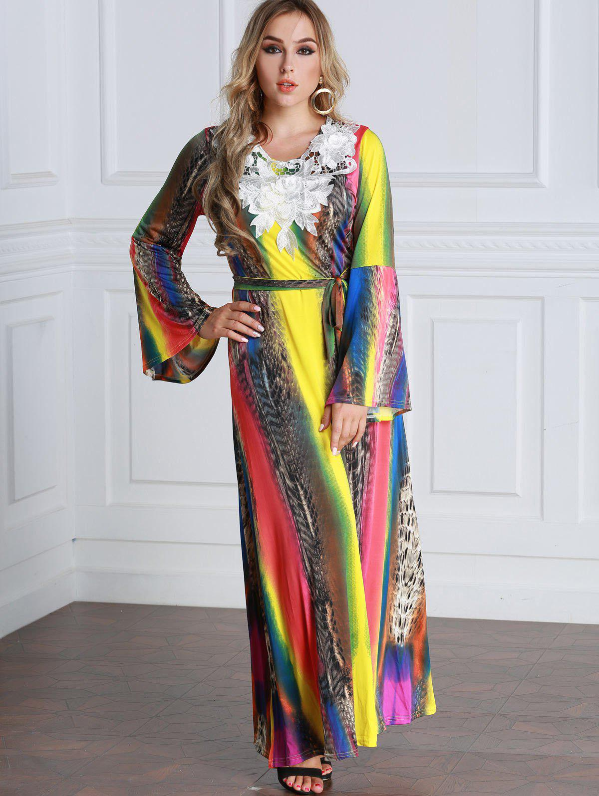 Latest Tie Dyed Floral Applique Flare Sleeve Maxi Dress