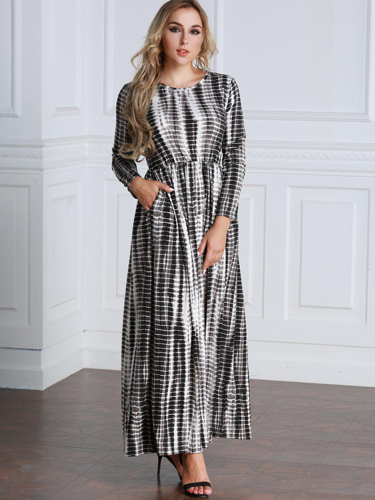 Outfit Tie Dyed Long Sleeve Maxi A Line Dress
