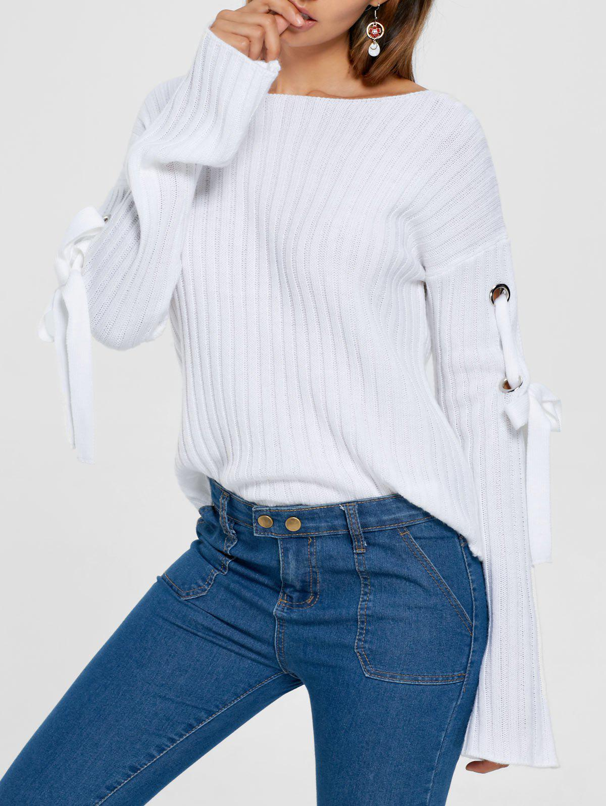 Ribbed Lace Up Drop Shoulder Sweater 222626703