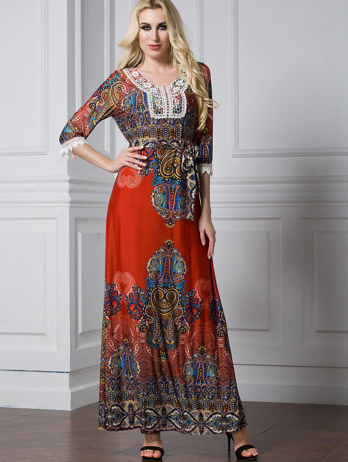 Latest Lace Trim Printed Maxi A Line Dress
