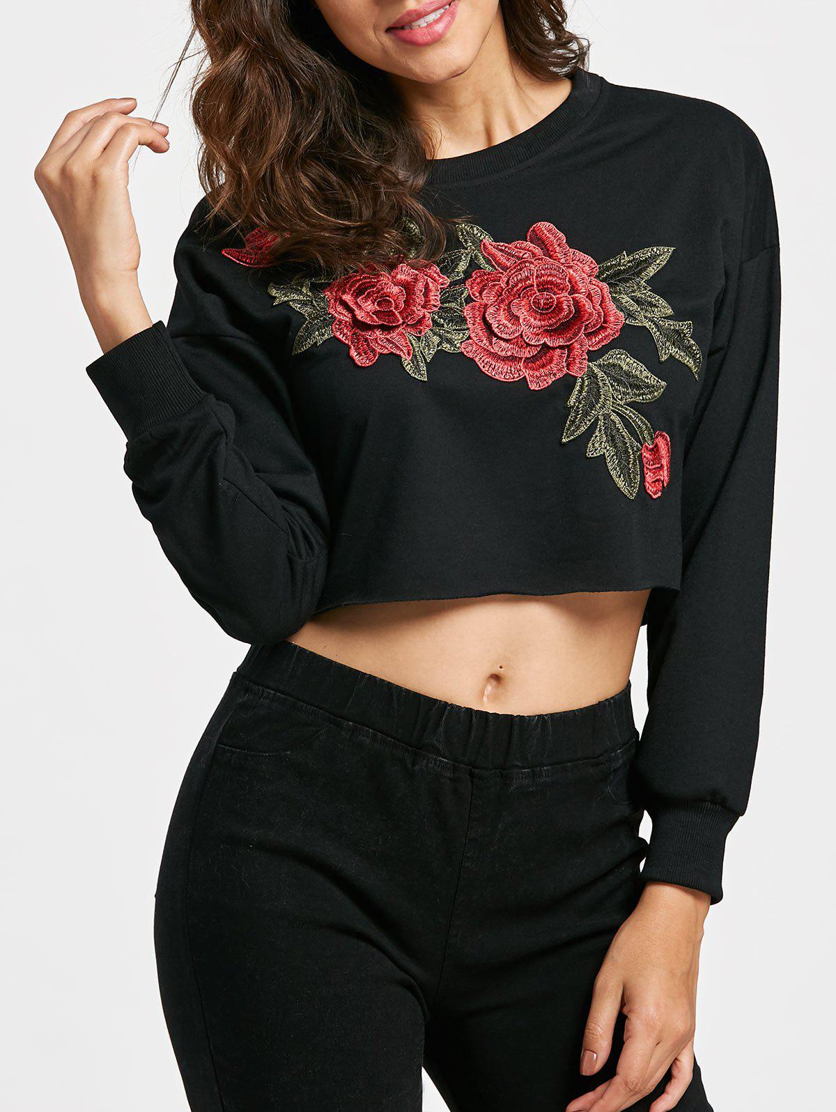 Chic Floral Patched Pullover Cropped Sweatshirt