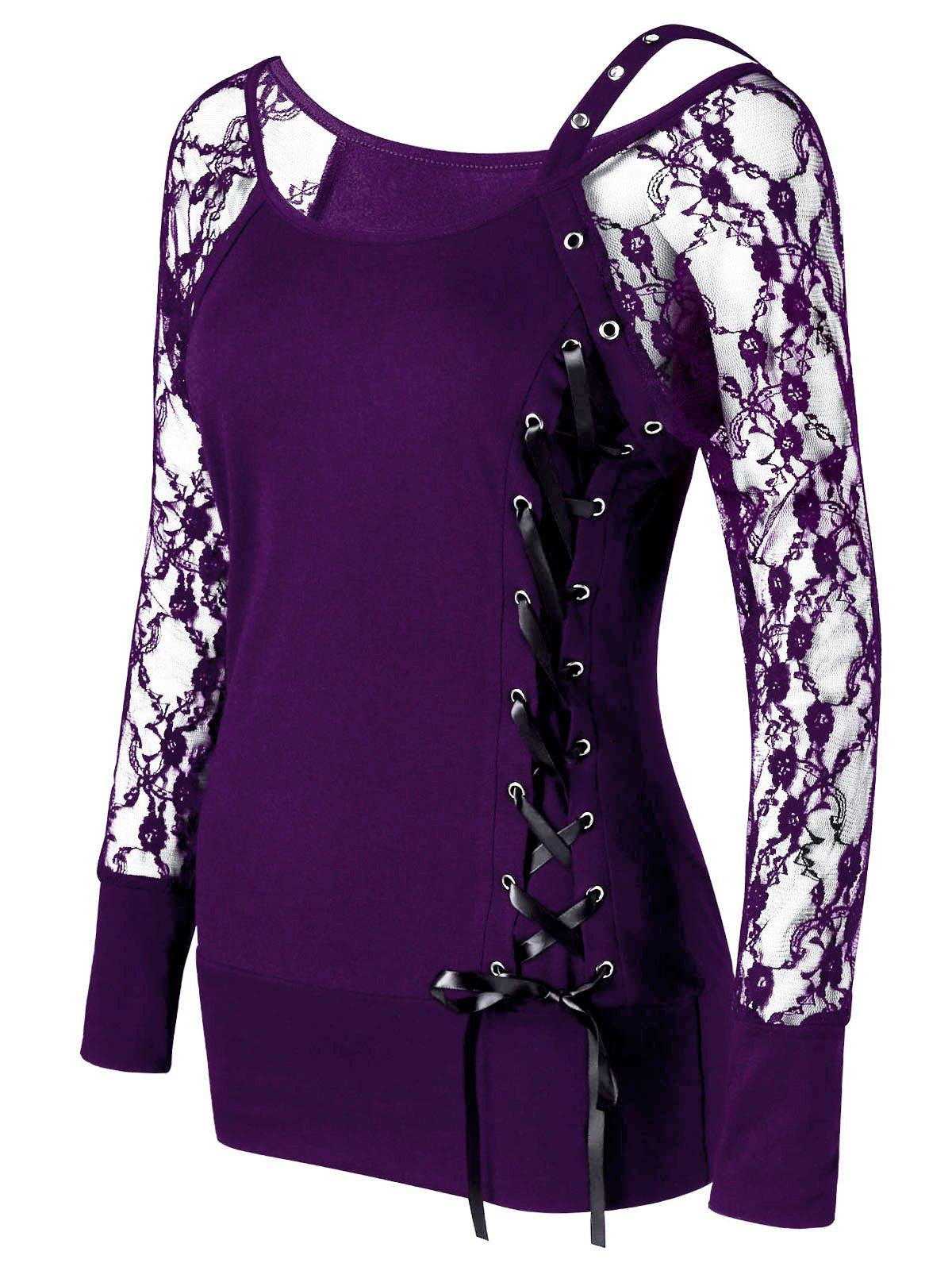 Raglan Sleeve Fitted Lace Up TopWOMEN<br><br>Size: L; Color: PURPLE; Material: Polyester,Spandex; Shirt Length: Regular; Sleeve Length: Full; Collar: Scoop Neck; Style: Fashion; Embellishment: Lace; Pattern Type: Solid; Season: Fall,Spring,Summer; Weight: 0.2400kg; Package Contents: 1 x Top;