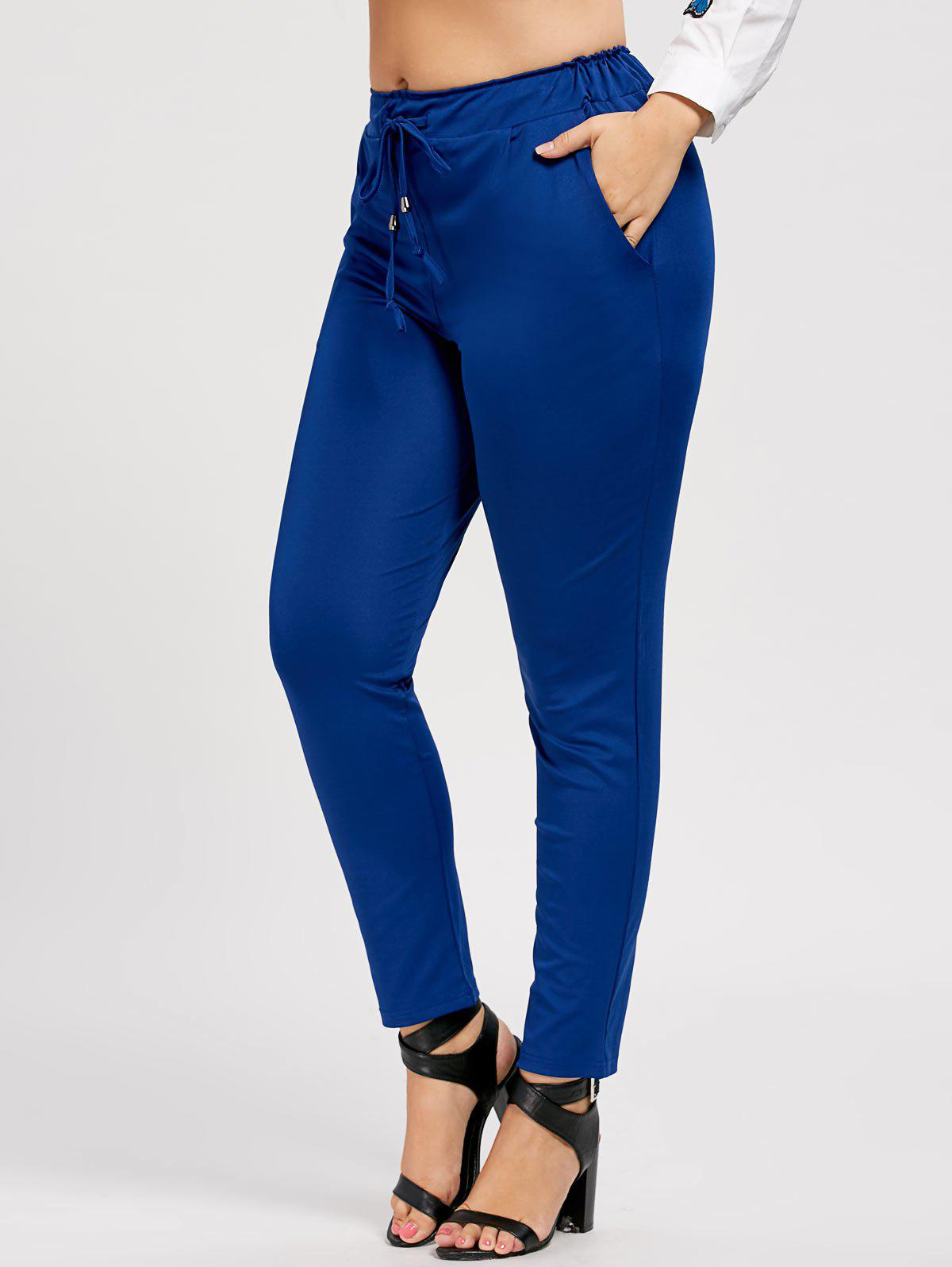 Discount Slimming Plus Size Drawstring Tapered Pants