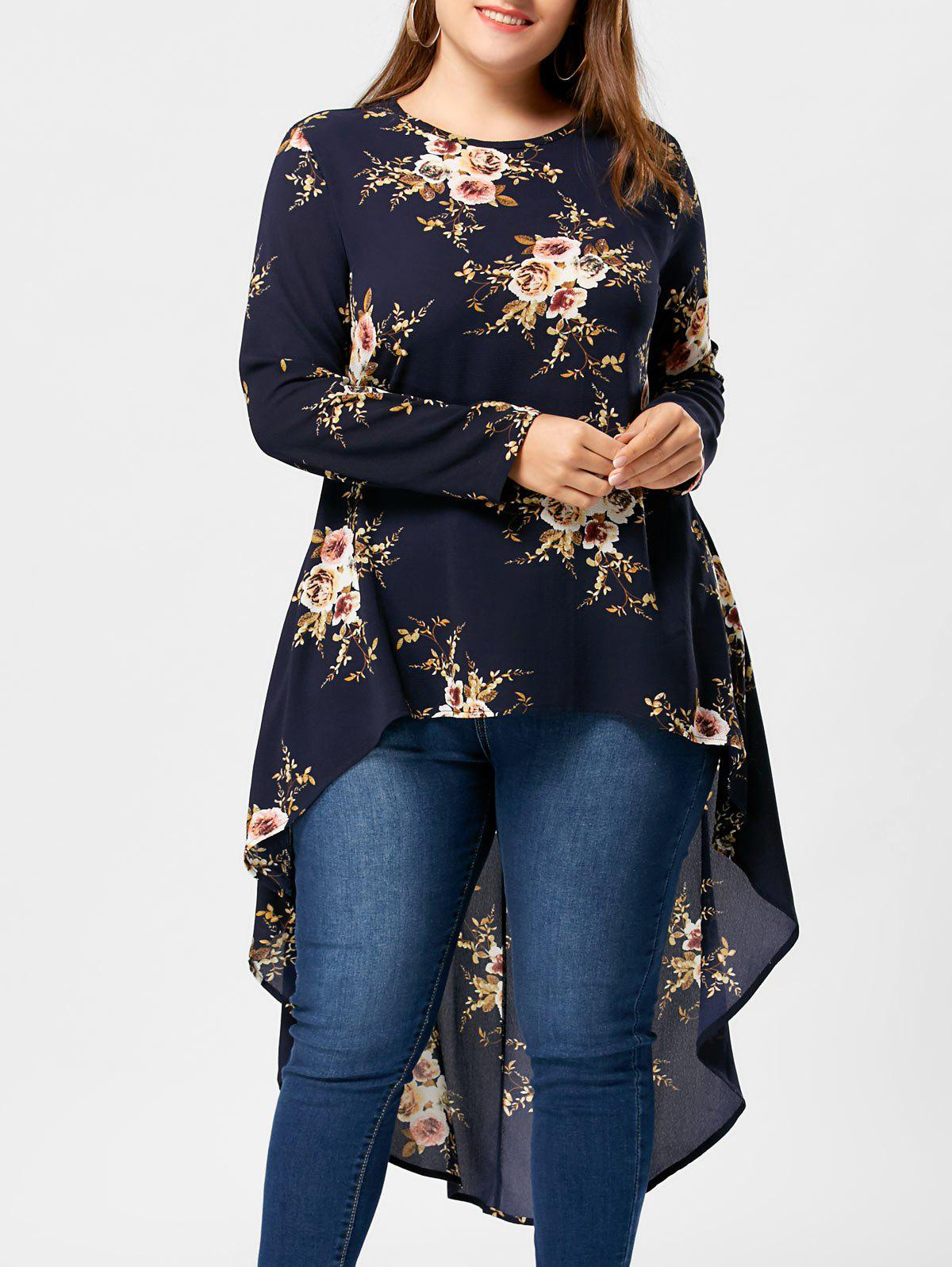 Plus Size Floral High Low Hem BlouseWOMEN<br><br>Size: XL; Color: CADETBLUE; Material: Polyester; Shirt Length: Long; Sleeve Length: Full; Collar: Crew Neck; Style: Casual; Season: Fall,Spring,Summer; Pattern Type: Floral; Weight: 0.3400kg; Package Contents: 1 x Blouse;