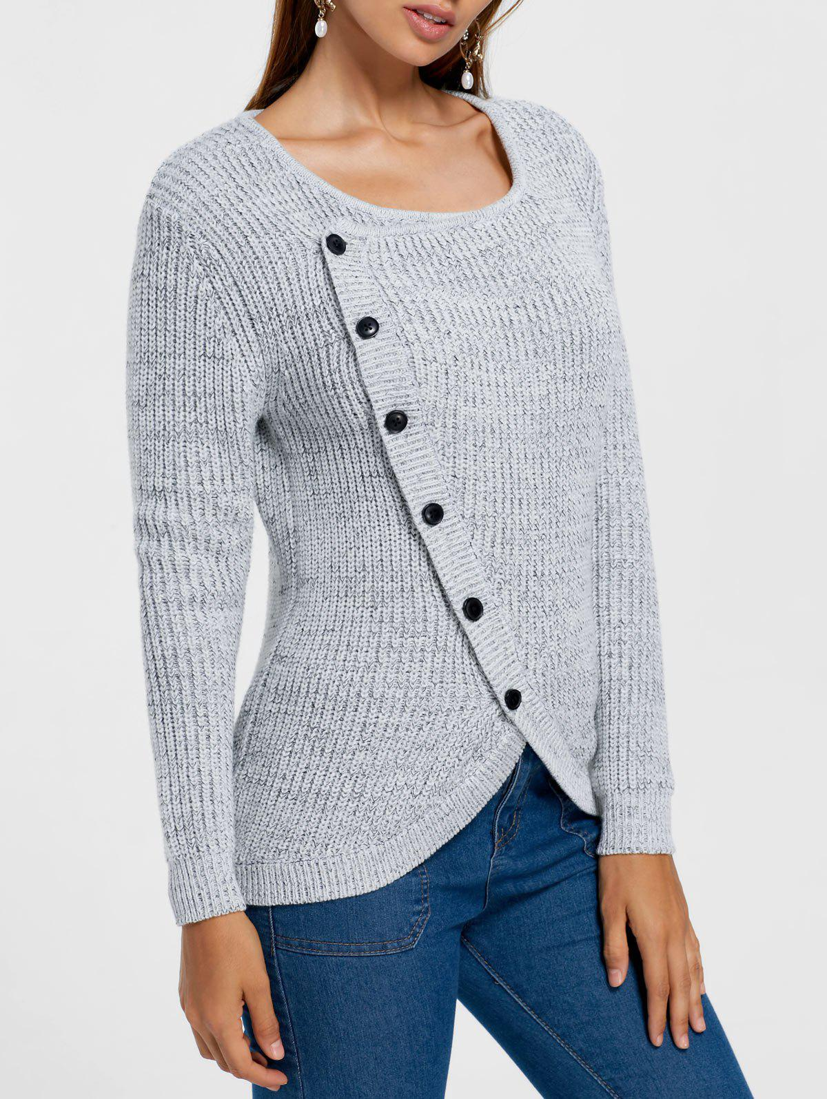 Single Breasted Overlap Formfitting SweaterWOMEN<br><br>Size: M; Color: GRAY; Type: Pullovers; Material: Acrylic; Sleeve Length: Full; Collar: Scoop Neck; Style: Casual; Pattern Type: Solid; Season: Fall,Spring,Winter; Weight: 0.4700kg; Package Contents: 1 x Sweater;