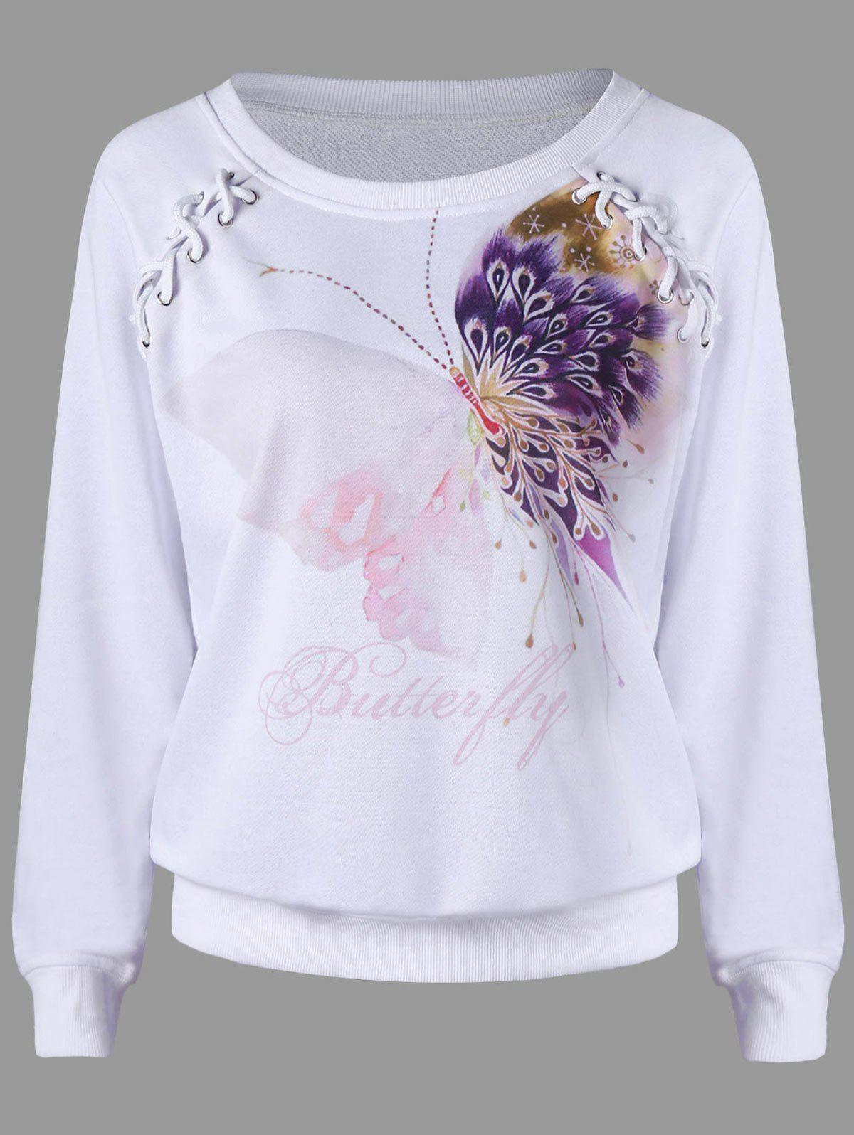 Lace Up Butterfly Print SweatshirtWOMEN<br><br>Size: XL; Color: WHITE; Material: Polyester; Shirt Length: Regular; Sleeve Length: Full; Style: Casual; Pattern Style: Insect; Season: Fall,Spring; Weight: 0.3800kg; Package Contents: 1 x Sweatshirt;