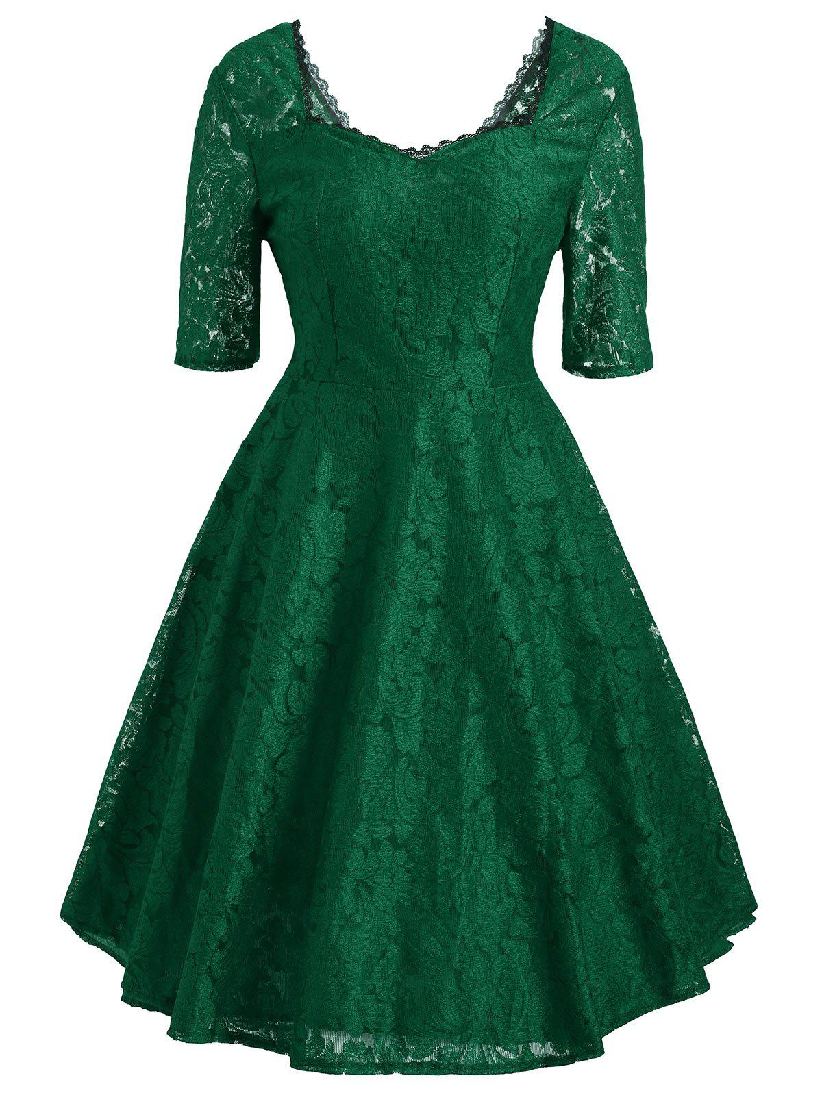 Floral Lace Sweetheart Vintage DressWOMEN<br><br>Size: 2XL; Color: GREEN; Style: Vintage; Material: Cotton,Polyester; Silhouette: A-Line; Dresses Length: Mini; Neckline: Sweetheart Neck; Sleeve Length: Half Sleeves; Pattern Type: Floral; With Belt: No; Season: Fall; Weight: 0.3500kg; Package Contents: 1 x Dress;