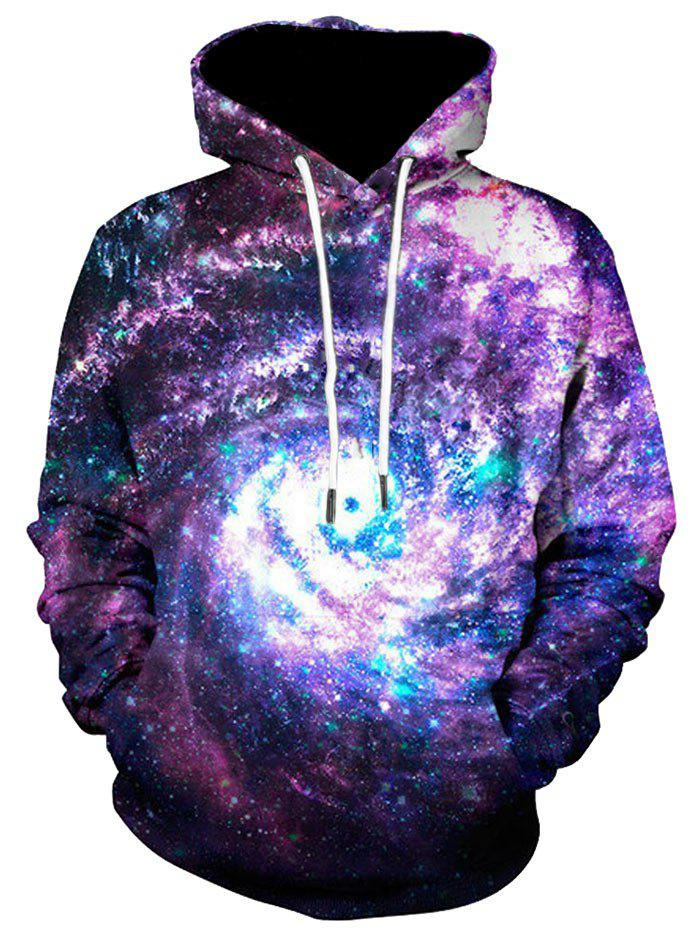 3D Printed Kangaroo Pocket Galaxy HoodieMEN<br><br>Size: XL; Color: COLORMIX; Material: Polyester,Spandex; Shirt Length: Regular; Sleeve Length: Full; Style: Casual; Weight: 0.5300kg; Package Contents: 1 x Hoodie;