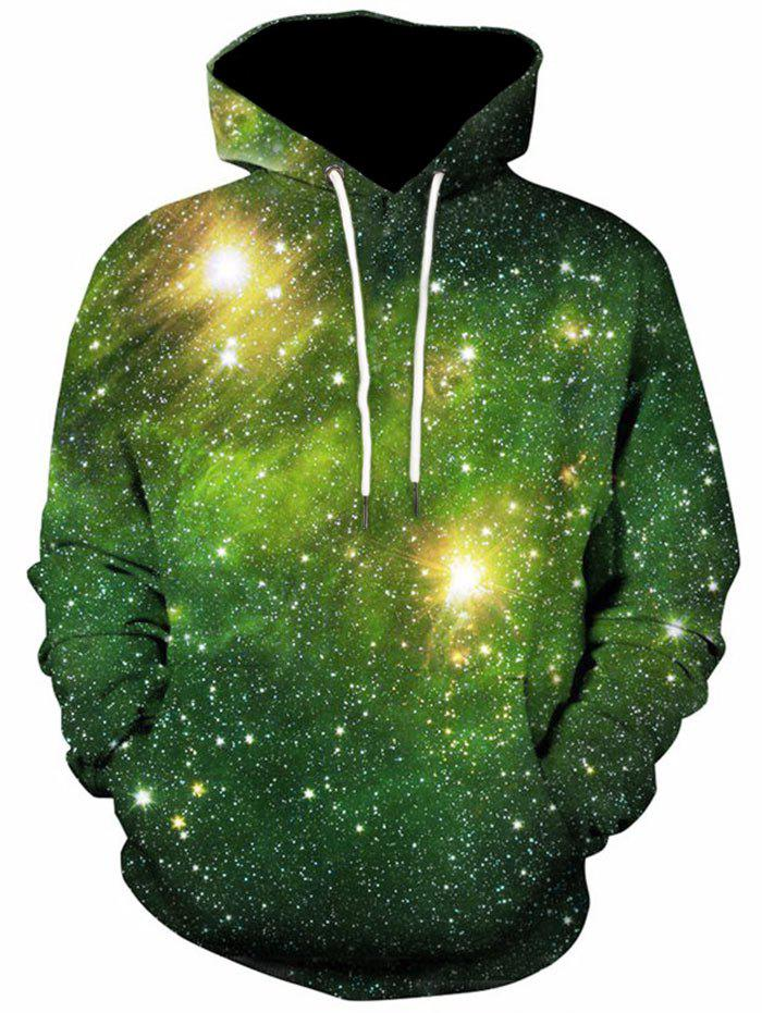Kangaroo Pocket 3D Printed Galaxy HoodieMEN<br><br>Size: 3XL; Color: GREEN; Material: Polyester,Spandex; Shirt Length: Regular; Sleeve Length: Full; Style: Casual; Weight: 0.5300kg; Package Contents: 1 x Hoodie;