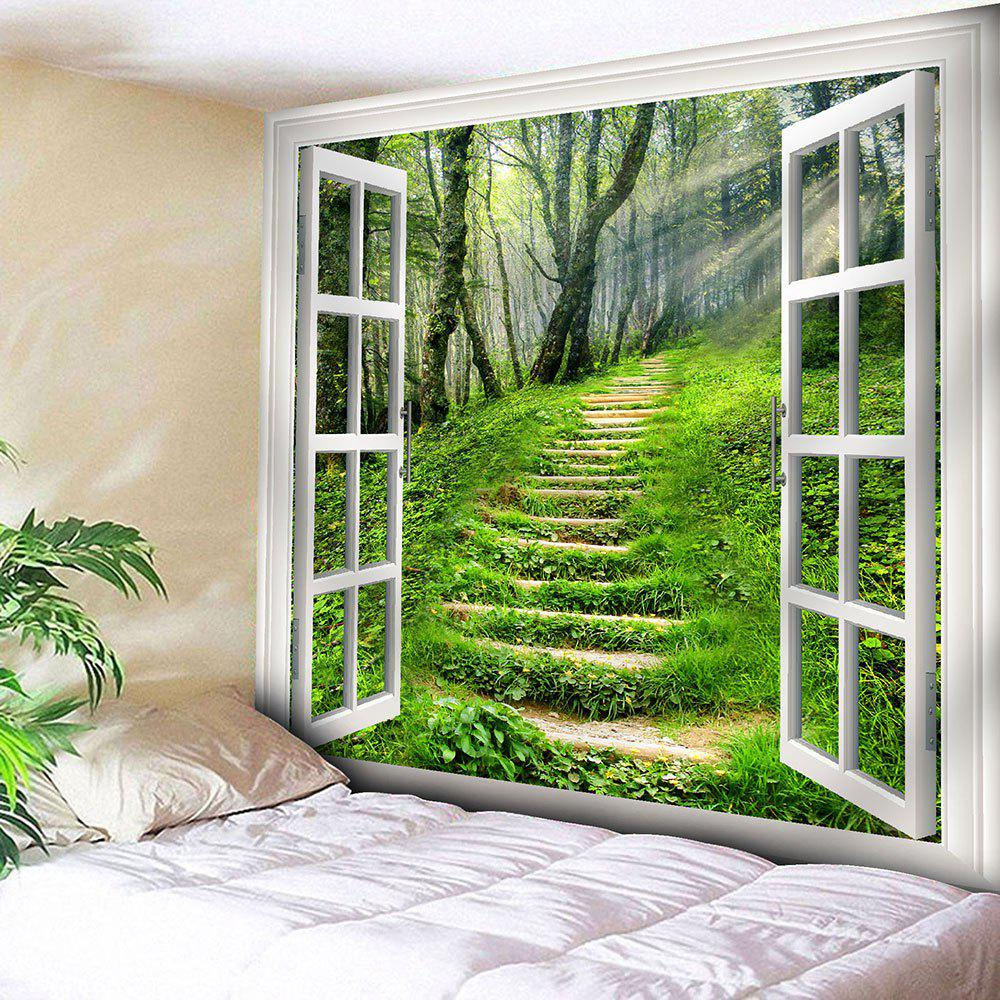 Wall Art Window Forest Path TapestryHOME<br><br>Size: W59 INCH * L51 INCH; Color: GREEN; Style: Natural; Theme: Landscape; Material: Nylon,Polyester; Feature: Removable,Washable; Shape/Pattern: Plant,Window; Weight: 0.1800kg; Package Contents: 1 x Tapestry;