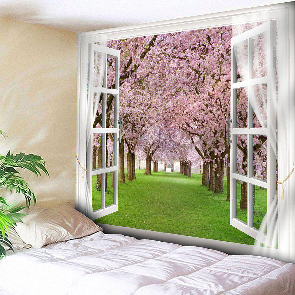 Window Peach Blossom Forest Bedroom TapestryHOME<br><br>Size: W79 INCH * L71 INCH; Color: PINK; Style: Natural; Theme: Landscape; Material: Nylon,Polyester; Shape/Pattern: Floral,Window; Weight: 0.3000kg; Package Contents: 1 x Tapestry;