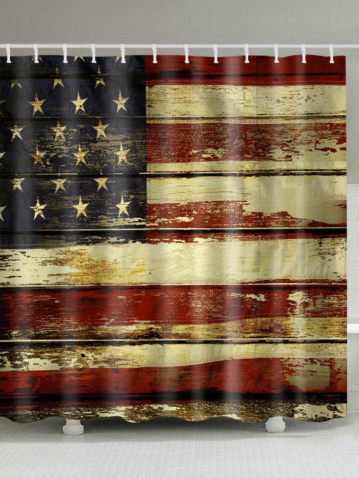 Unique Distressed American Flag Print Shower Curtain
