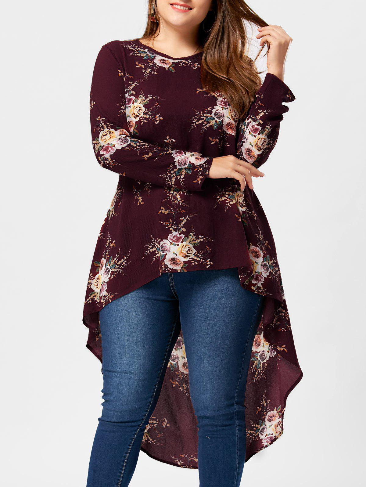 Plus Size Floral High Low Hem BlouseWOMEN<br><br>Size: 2XL; Color: WINE RED; Material: Polyester; Shirt Length: Long; Sleeve Length: Full; Collar: Crew Neck; Style: Casual; Season: Fall,Spring,Summer; Pattern Type: Floral; Weight: 0.3400kg; Package Contents: 1 x Blouse;