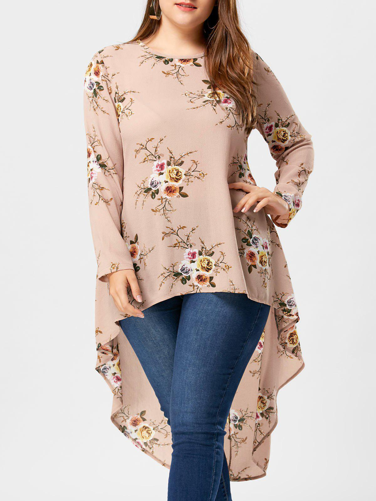 Plus Size Floral High Low Hem BlouseWOMEN<br><br>Size: 4XL; Color: APRICOT; Material: Polyester; Shirt Length: Long; Sleeve Length: Full; Collar: Crew Neck; Style: Casual; Season: Fall,Spring,Summer; Pattern Type: Floral; Weight: 0.3400kg; Package Contents: 1 x Blouse;