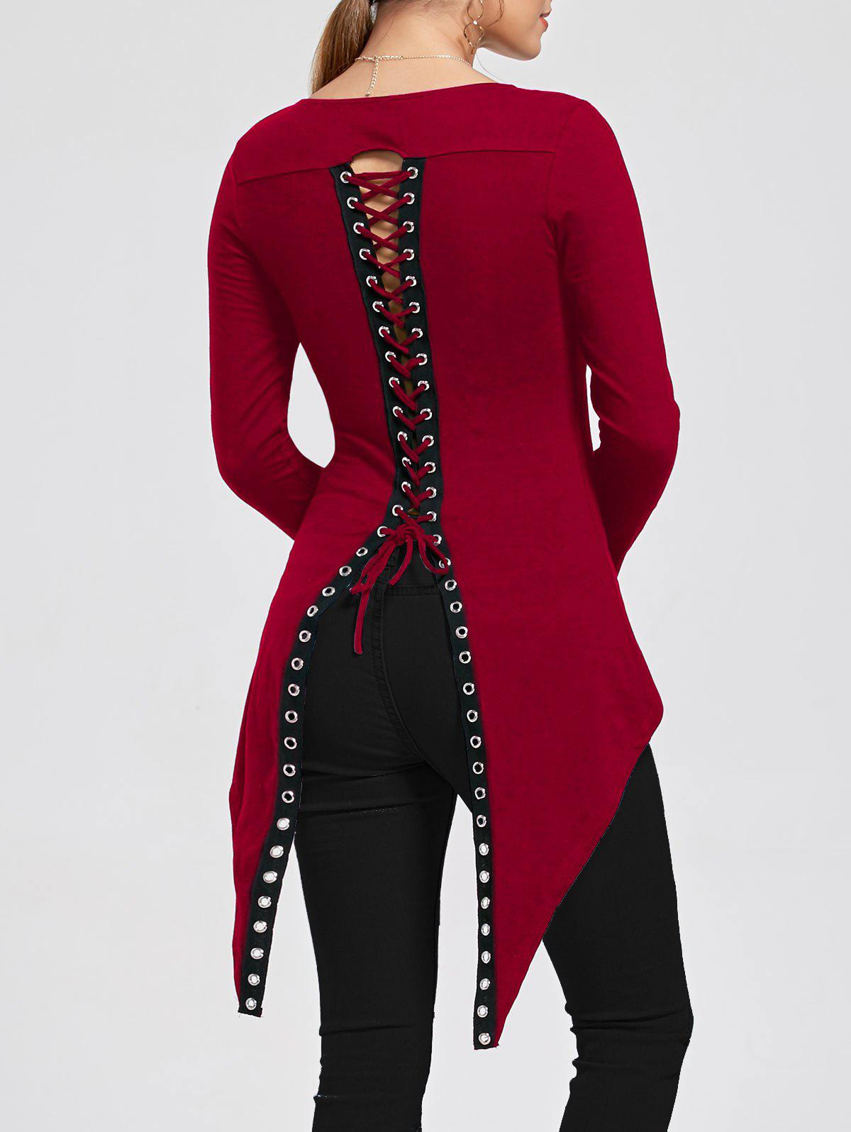 Slit Back Lace Up Asymmetrical T-shirtWOMEN<br><br>Size: L; Color: RED; Material: Cotton,Spandex; Shirt Length: Long; Sleeve Length: Full; Collar: Round Neck; Style: Fashion; Pattern Type: Solid; Season: Fall,Spring,Summer; Weight: 0.2600kg; Package Contents: 1 x T-shirt;