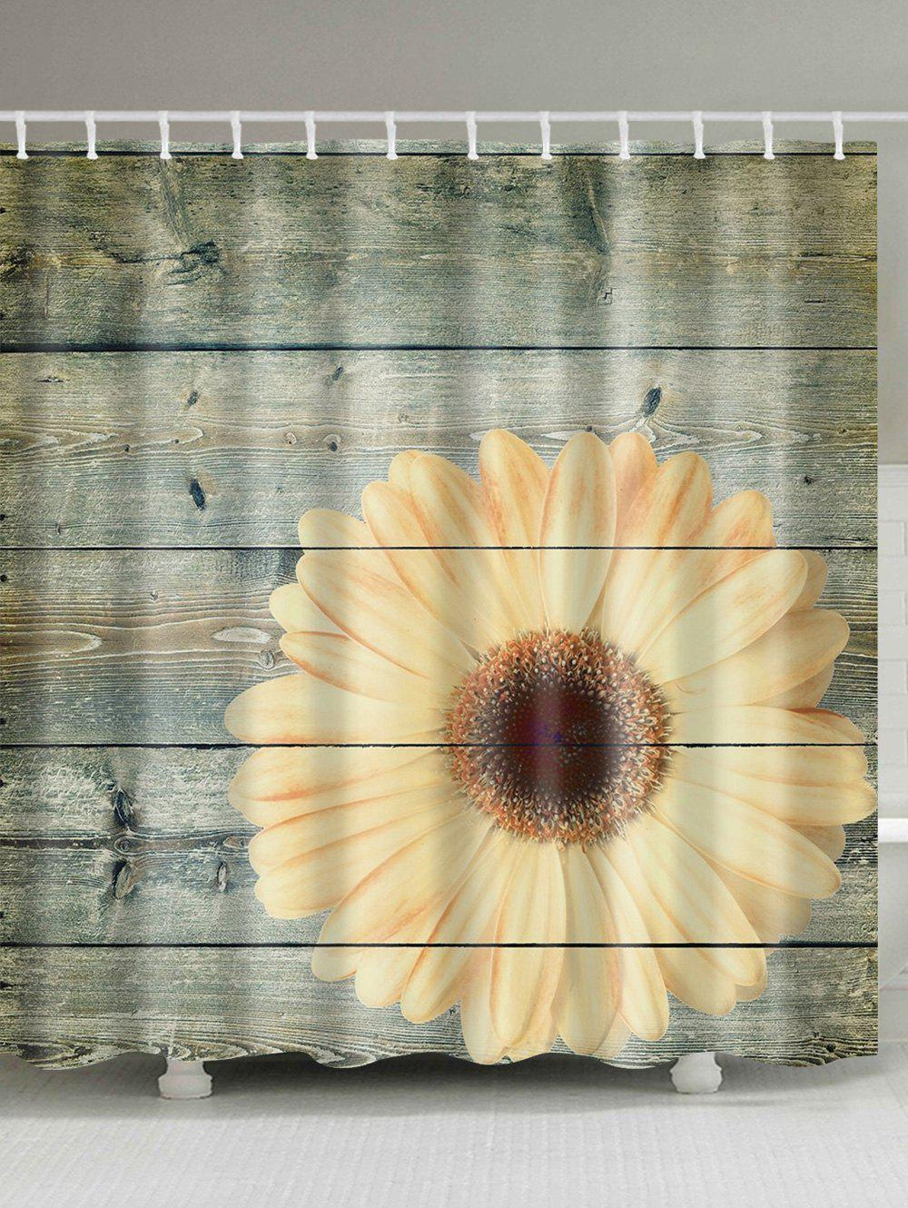 Sale Plank Sunflower Shower Curtain Bathroom Decor