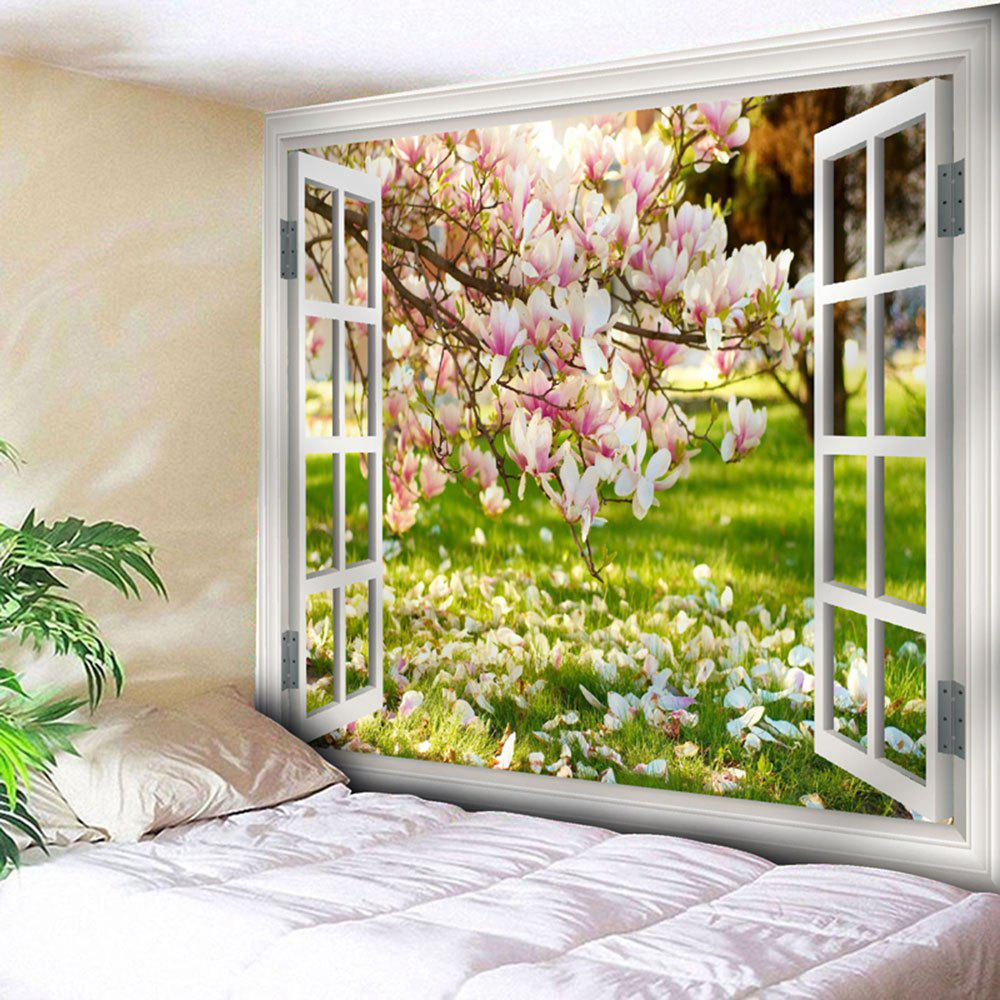 Window Flower Scenery Print Wall TapestryHOME<br><br>Size: W91 INCH * L71 INCH; Color: COLORMIX; Style: Natural; Theme: Landscape; Material: Nylon,Polyester; Feature: Removable,Washable; Shape/Pattern: Floral,Window; Weight: 0.3750kg; Package Contents: 1 x Tapestry;