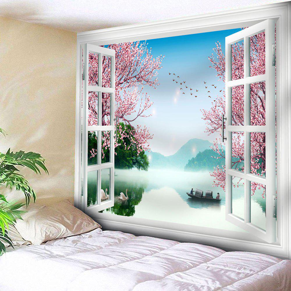 Window Boat Lake Flower Wall TapestryHOME<br><br>Size: W59 INCH * L51 INCH; Color: PINK; Style: Natural; Theme: Landscape; Material: Nylon,Polyester; Feature: Removable,Washable; Shape/Pattern: Animal,Floral,Window; Weight: 0.1800kg; Package Contents: 1 x Tapestry;
