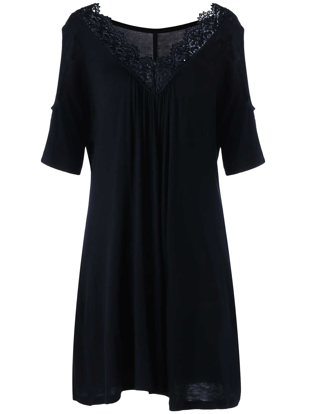 Plus Size Cold Shoulder V Neck DressWOMEN<br><br>Size: 2XL; Color: BLACK; Style: Casual; Material: Rayon,Spandex; Silhouette: Straight; Dresses Length: Mini; Neckline: V-Neck; Sleeve Length: Short Sleeves; Pattern Type: Solid Color; With Belt: No; Season: Fall,Spring,Summer; Weight: 0.2700kg; Package Contents: 1 x Dress;