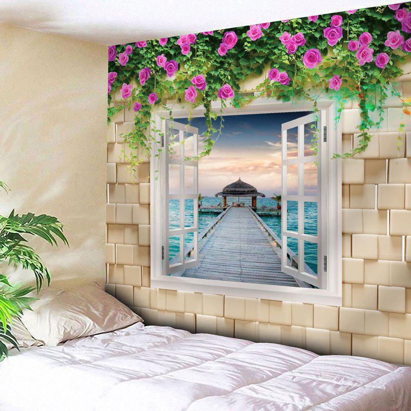 Wall Hanging Window Scenery Flower TapestryHOME<br><br>Size: W71 INCH * L71 INCH; Color: PALOMINO; Style: Europen Style; Theme: Plants/Flowers; Material: Nylon,Polyester; Feature: Removable,Washable; Shape/Pattern: Floral,Wall,Window; Weight: 0.2950kg; Package Contents: 1 x Tapestry;