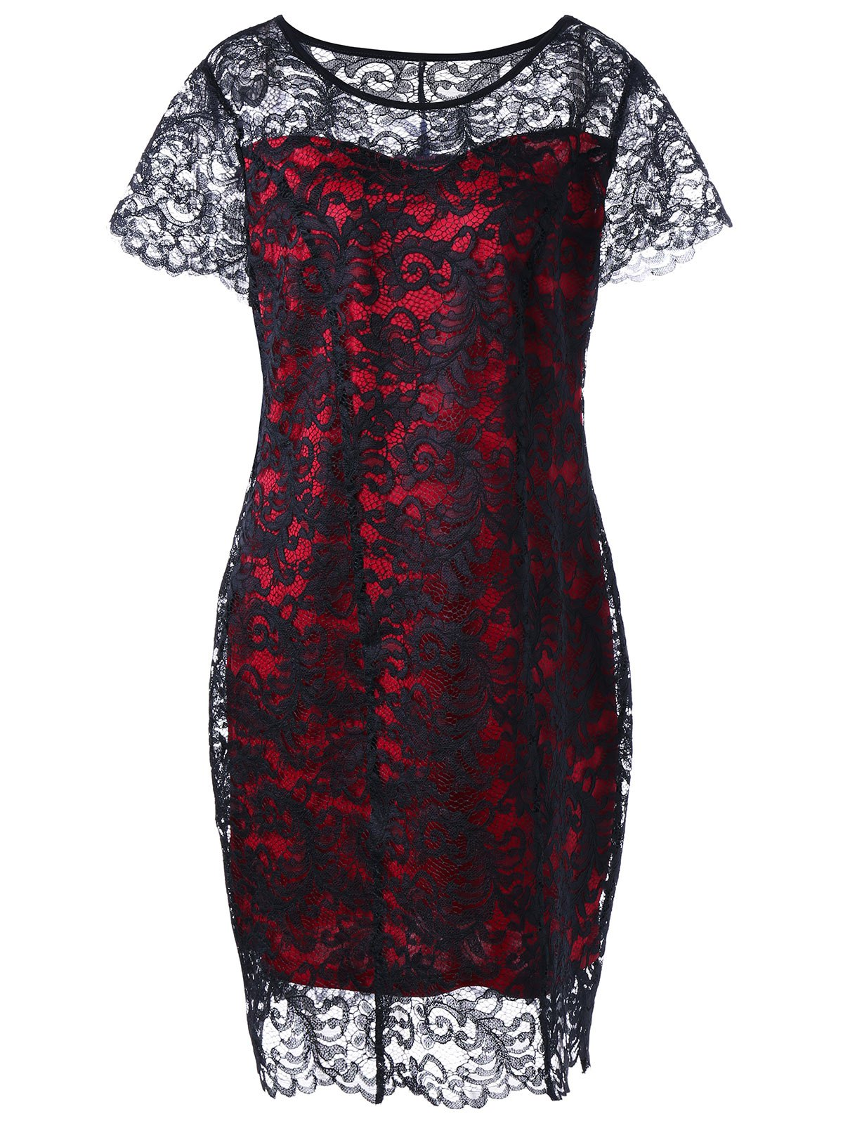 Plus Size Sheath Fitted Lace DressWOMEN<br><br>Size: 4XL; Color: RED WITH BLACK; Style: Brief; Material: Polyester; Silhouette: Sheath; Dresses Length: Knee-Length; Neckline: Round Collar; Sleeve Length: Short Sleeves; Embellishment: Lace; Pattern Type: Others; With Belt: No; Season: Fall,Spring,Summer; Weight: 0.3500kg; Package Contents: 1 x Dress;