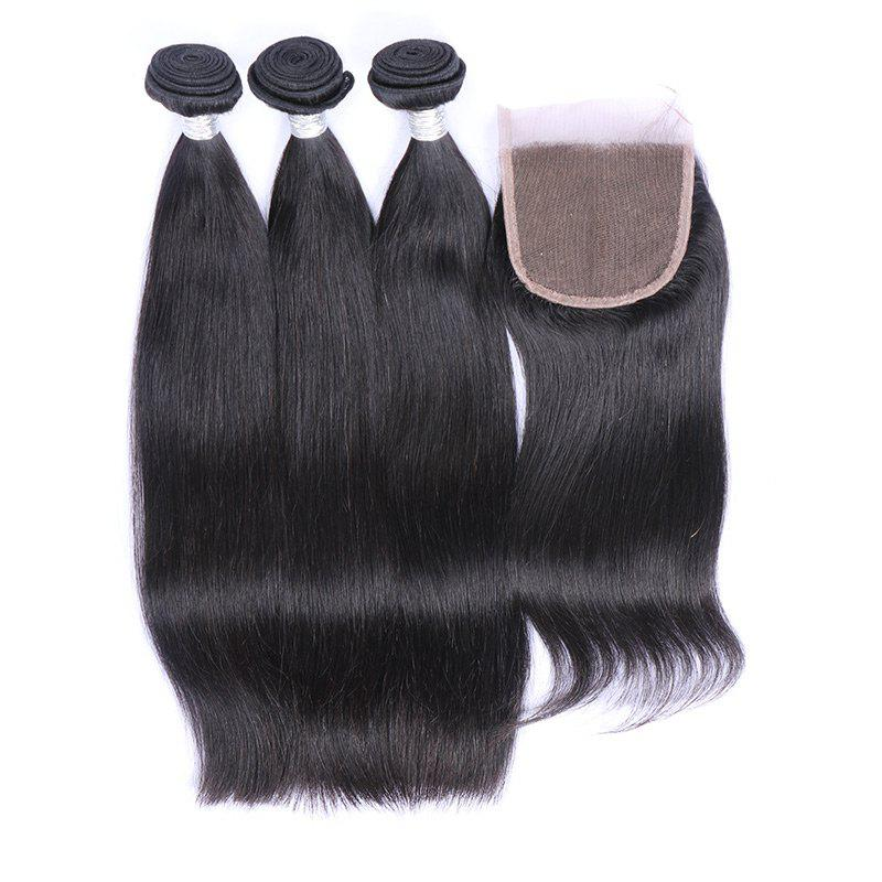Shop 3Pcs/Lot 7A Remy Long Silky Straight Indian Human Hair Weaves