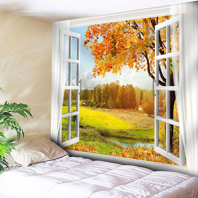 Window Scenery Tree Printed Wall TapestryHOME<br><br>Size: W91 INCH * L71 INCH; Color: YELLOW; Style: Natural; Theme: Landscape; Material: Nylon,Polyester; Feature: Removable,Washable; Shape/Pattern: Plant,Window; Weight: 0.3750kg; Package Contents: 1 x Tapestry;