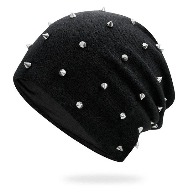 Tiny Rivet Embellished Knitted BeanieACCESSORIES<br><br>Color: BLACK; Hat Type: Skullies Beanie; Group: Adult; Gender: Unisex; Style: Fashion; Pattern Type: Others; Material: Acrylic; Weight: 0.1000kg; Package Contents: 1 x Hat;