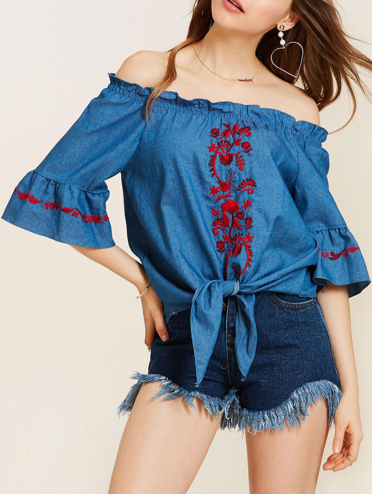 Off The Shoulder Embroidery Tie Waist BlouseWOMEN<br><br>Size: S; Color: BLUE; Occasion: Casual; Style: Casual; Material: Polyester; Shirt Length: Regular; Sleeve Length: Three Quarter; Collar: Off The Shoulder; Pattern Type: Floral; Embellishment: Embroidery; Season: Fall,Spring,Summer; Weight: 0.2500kg; Package Contents: 1 x Blouse;