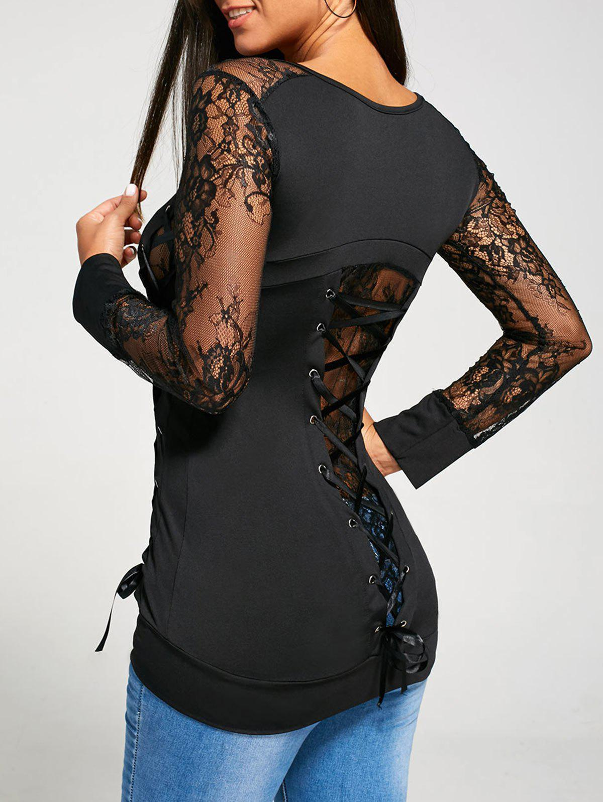 Long Raglan Lace Sleeve Lace Up T-shirtWOMEN<br><br>Size: XL; Color: BLACK; Material: Polyester,Spandex; Shirt Length: Regular; Sleeve Length: Full; Collar: U Neck; Style: Fashion; Sleeve Type: Raglan Sleeve; Embellishment: Criss-Cross,Lace; Pattern Type: Solid Color; Season: Fall,Spring; Elasticity: Micro-elastic; Weight: 0.3600kg; Package Contents: 1 x T-shirt;