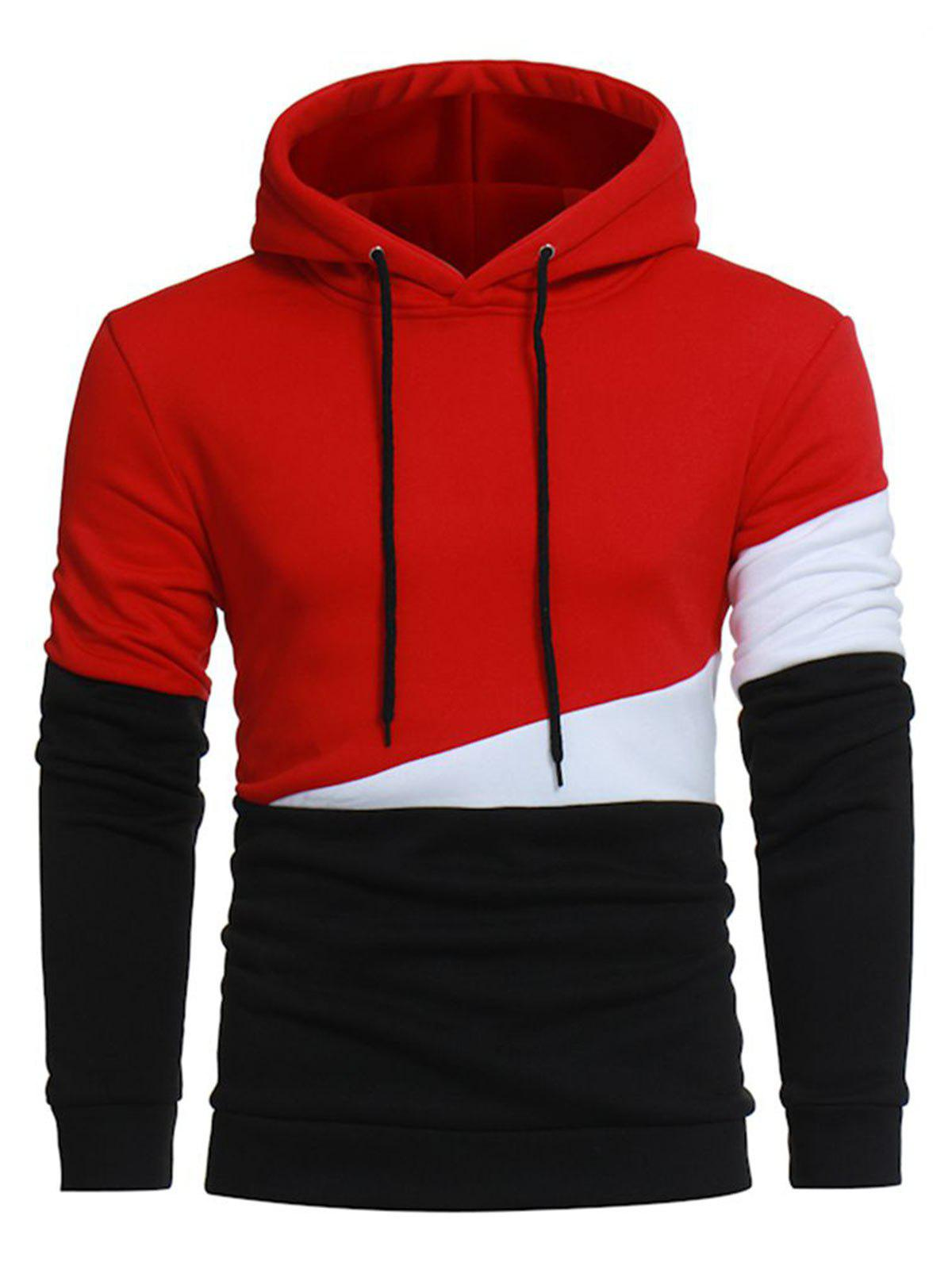 Color Block Drawstring Pullover Fleece HoodieMEN<br><br>Size: M; Color: RED; Material: Cotton,Polyester; Shirt Length: Regular; Sleeve Length: Full; Style: Fashion; Weight: 0.5000kg; Package Contents: 1 x Hoodie;