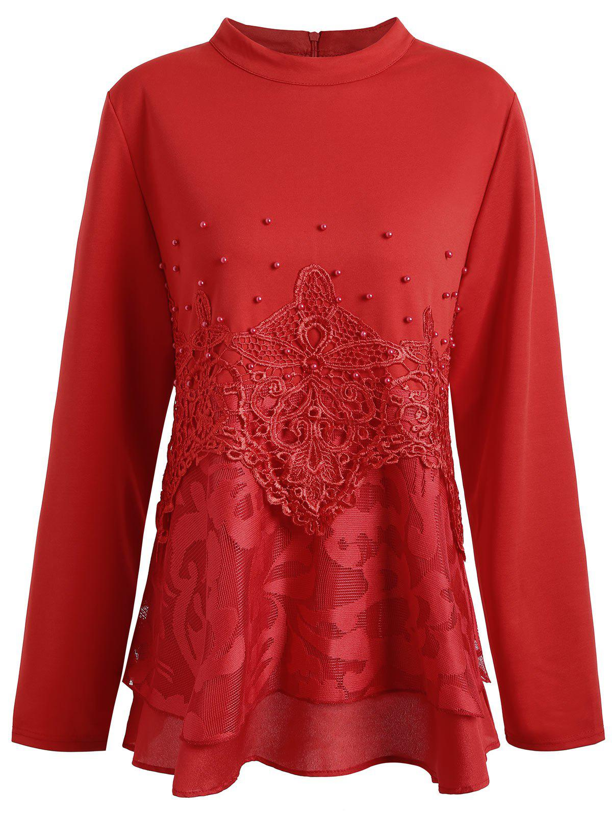 Plus Size Floral Lace Faux Pearl Embellished BlouseWOMEN<br><br>Size: 4XL; Color: RED; Material: Polyester; Shirt Length: Long; Sleeve Length: Full; Collar: High Collar; Style: Fashion; Season: Fall; Embellishment: Lace,Pearls; Pattern Type: Solid; Weight: 0.4400kg; Package Contents: 1 x Blouse;