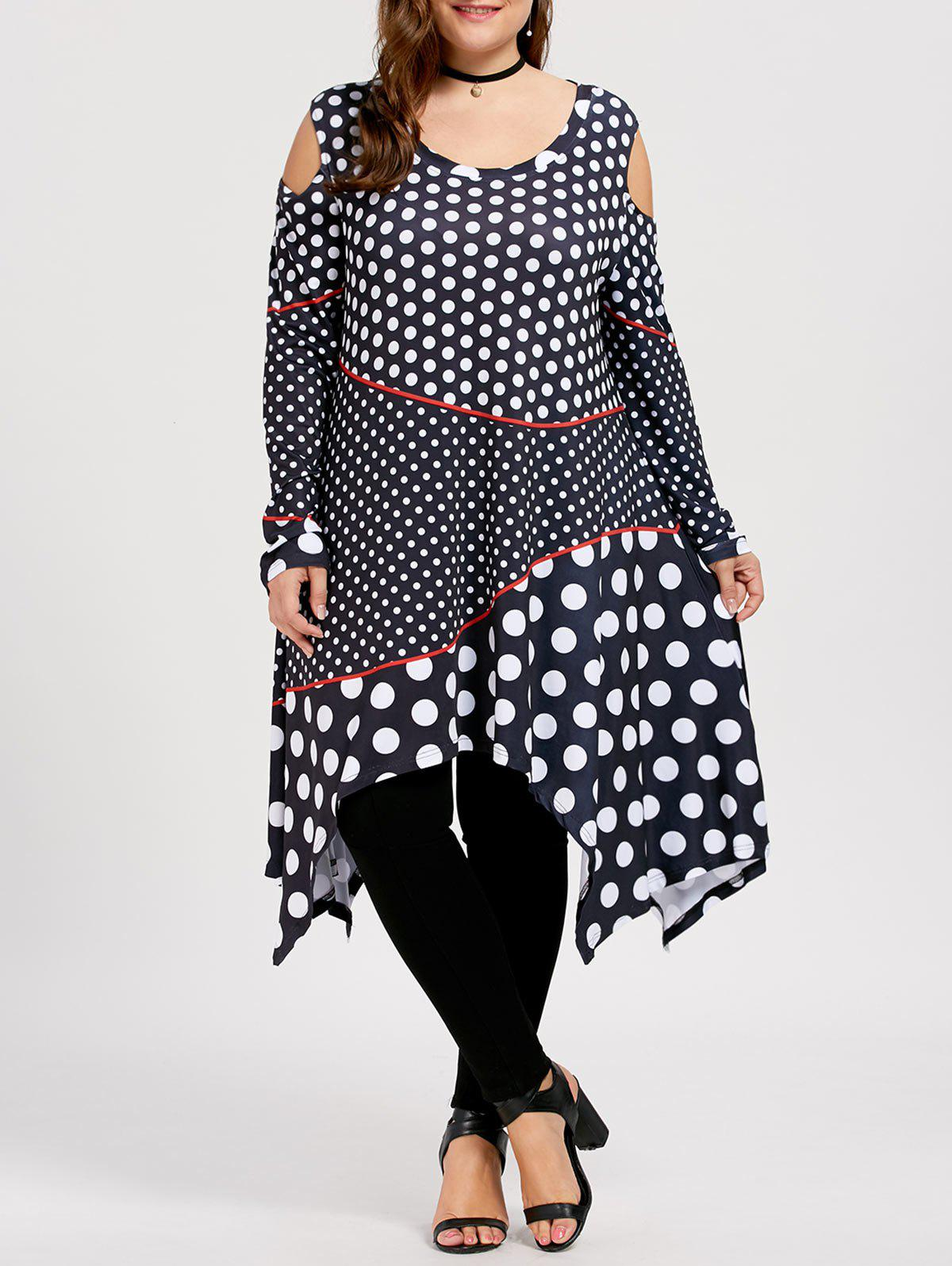 Open Shoulder Plus Size Polka Dot TopWOMEN<br><br>Size: 5XL; Color: BLACK; Material: Polyester; Shirt Length: Long; Sleeve Length: Full; Collar: Round Neck; Style: Fashion; Season: Fall,Spring; Pattern Type: Polka Dot; Weight: 0.4700kg; Package Contents: 1 x Top;
