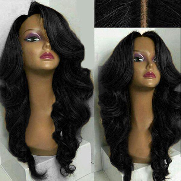 Long Side Part Loose Wave Synthetic WigHAIR<br><br>Color: BLACK; Type: Full Wigs; Cap Construction: Capless; Style: Wavy; Material: Synthetic Hair; Bang Type: Side; Length: Long; Length Size(CM): 60; Weight: 0.2350kg; Package Contents: 1 x Wig;