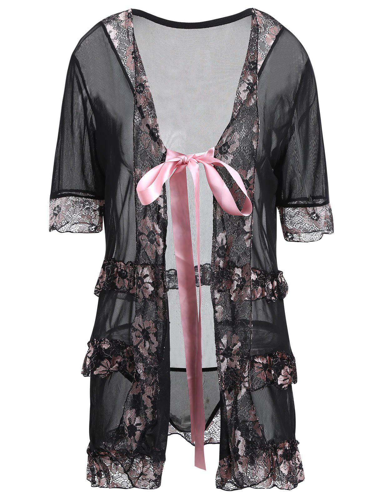 Plus Size Lingeries Lace Flowers Wrap SleepwearWOMEN<br><br>Size: 4XL; Color: BLACK; Material: Cotton,Polyester; Pattern Type: Patchwork; Embellishment: Lace,Ruffles; Weight: 0.2500kg; Package Contents: 1 x Sleepwear  1 x T Back;