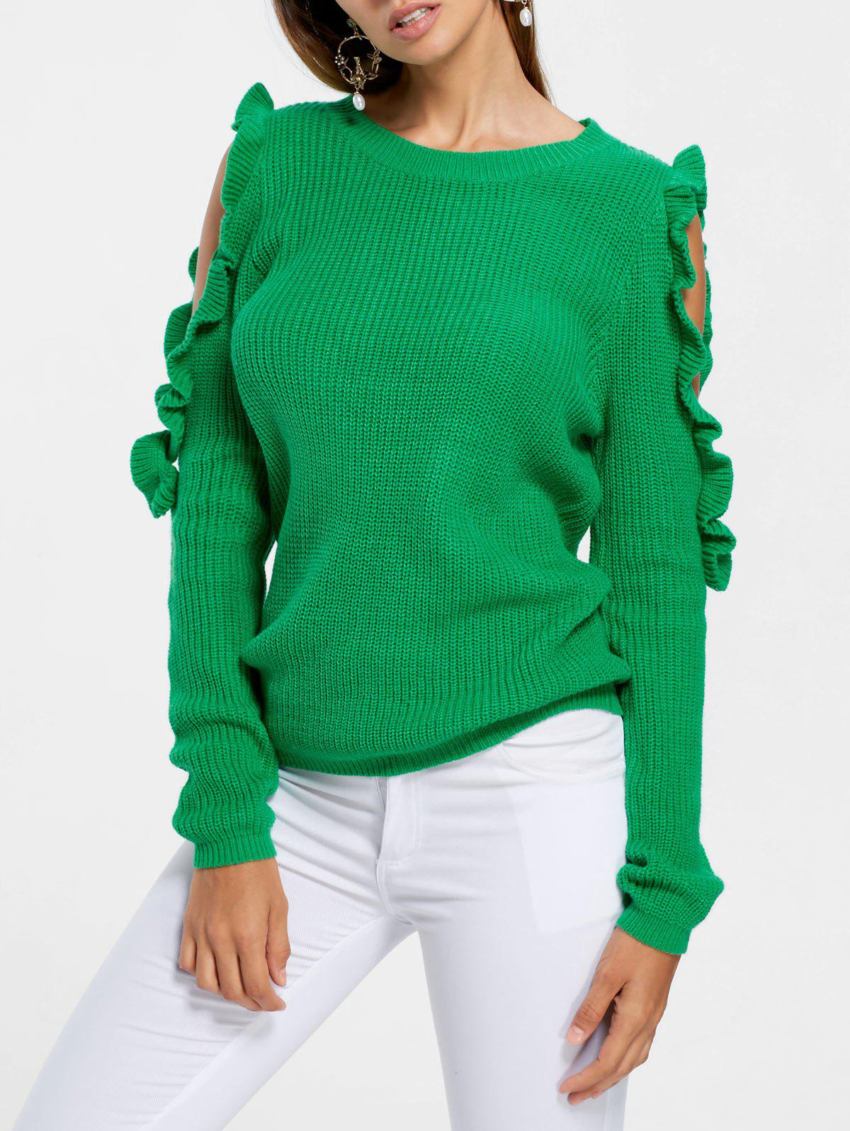 Ruffle Cold Shoulder SweaterWOMEN<br><br>Size: S; Color: GREEN; Type: Pullovers; Material: Acrylic; Sleeve Length: Full; Collar: Crew Neck; Style: Fashion; Pattern Type: Solid; Season: Fall,Spring,Winter; Weight: 0.3100kg; Package Contents: 1 x Sweater;