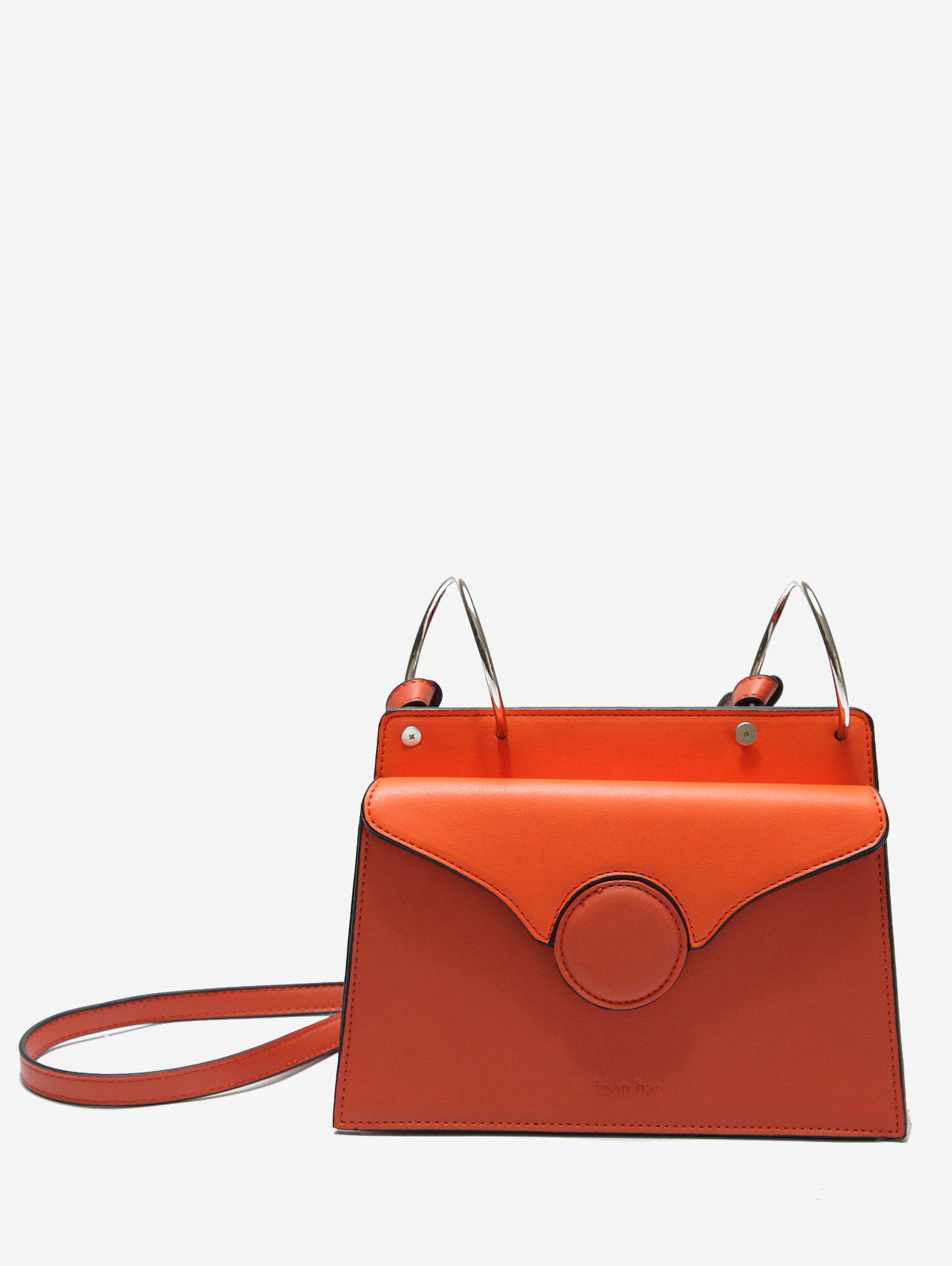 Outfit Metal Rings Faux Leather Crossbody Bag