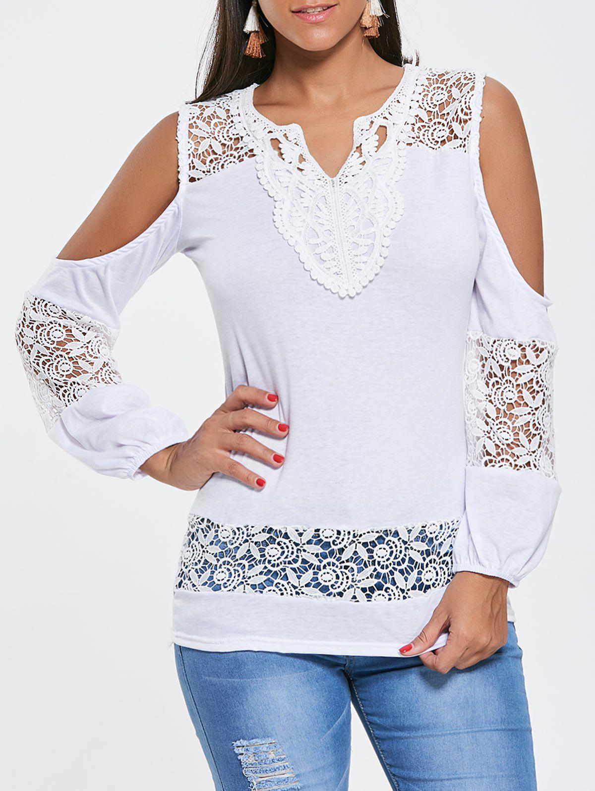Lace Crochet Cold Shoulder Tunic TeeWOMEN<br><br>Size: 2XL; Color: WHITE; Material: Polyester; Shirt Length: Long; Sleeve Length: Full; Collar: V-Neck; Style: Fashion; Pattern Type: Patchwork; Season: Fall,Spring; Weight: 0.2500kg; Package Contents: 1 x T-shirt;
