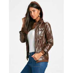 Flap Pockets Hooded Faux Leather Jacket - RED BROWN S
