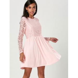 Long Sleeve A Line Lace Cocktail  Dress - LIGHT PINK S