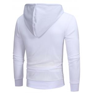 Color Block Oblique Zippers Hoodie en molleton - Blanc L