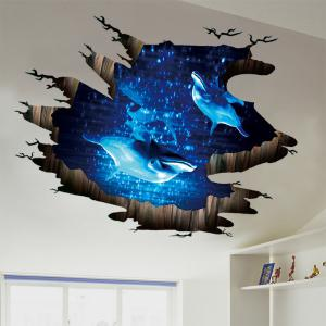 Dolphin 3D Broken Floor Sticker For Bedroom -