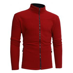 Zip Pockets Warm Fleece Jacket - Rouge 3XL