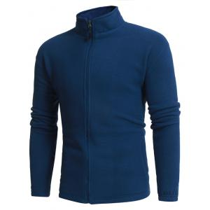 Thicken Stand Collar Zip Up Fleece Jacket - BLUE M